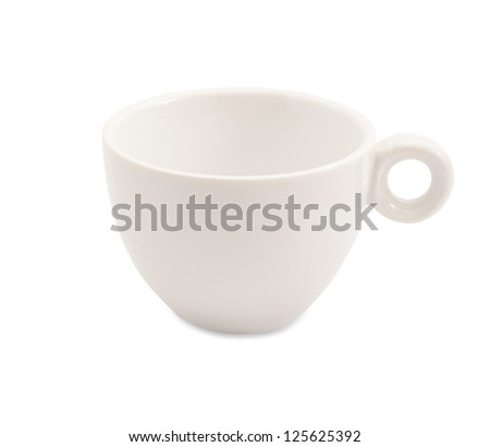the empty white coffee cup on white background