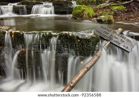 The enchanted woodland waterfall of Scaleber Force in the Yorkshire Dales - stock photo