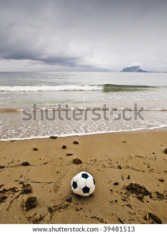 The end of summer games. Fall storms have put an end to the presence of tourists on beaches - stock photo