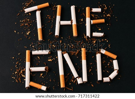 End Letters Cigarettes Isolated On Black Stock Photo & Image ...
