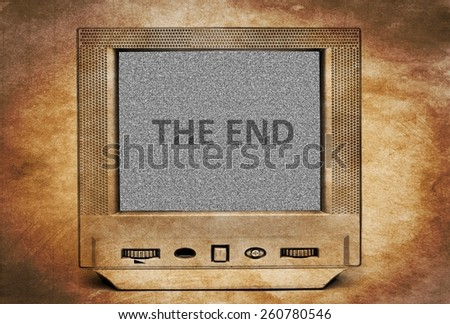 The end on tv screen - stock photo