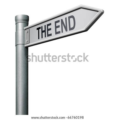 the end road sign arrow pointing to finish point way out