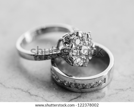 The engagement ring set. - stock photo