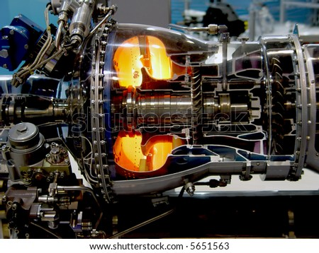 The engine of airplane - stock photo