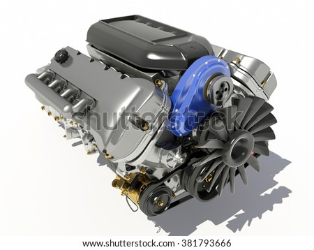 The engine of the car on a white background. - stock photo
