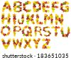 The entire Alphabet in capital letters isolated on white constructed out of genuine autumnal leaves from a variety of tree species.