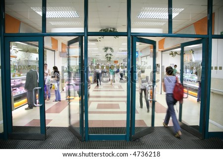 the entrance into the store - stock photo