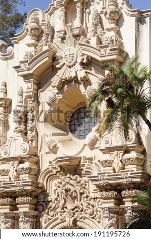 The entrance of the historic landmark Casa Del Orado, decorated with carved baroque wall of spanish colonial architecture, located at Balboa Park, San Diego, California, United States of America - stock photo