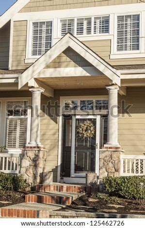 The entrance to a home - stock photo