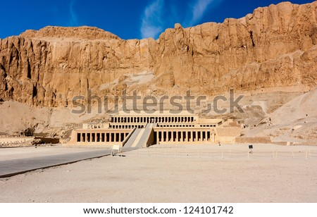 The entrance to the desert temple of Queen Hatshepsut near the Egyptian city of Luxor - stock photo