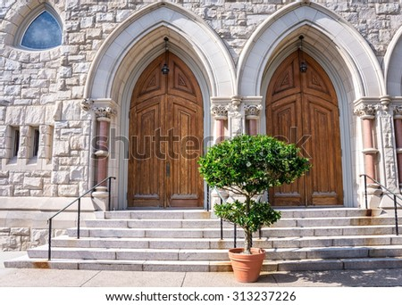 The entrance to the historic St. John's the Evangelist Catholic church in Lambertville NJ. - stock photo
