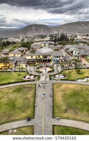 the equator at Mitad del Mundo in Ecuador - stock photo