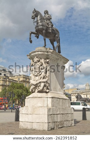 The equestrian statue of Charles I in Charing Cross, London, which is a work by the French sculptor Hubert Le Sueur, probably cast in 1633 - stock photo