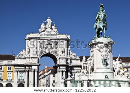 The Equestrian Statue of King Jose I and the Triumphal Arch of Augusta Street in Lisbon, Portugal