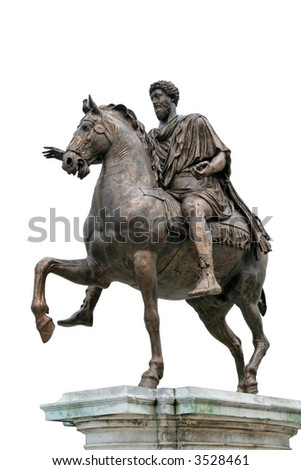 The Equestrian Statue of Marcus Aurelius (ancient roman statue dated 175 AC). The statue is the subject of the 0.50 Italian euro coin. Isolated on white background - stock photo