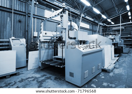 The equipment for a print in a modern printing house