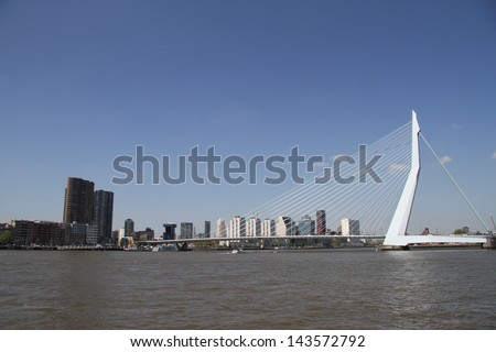 The Erasmusbrug in Rotterdam, The Netherlands - stock photo