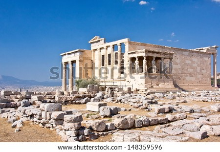 The Erechtheion temple in Athens on blue sky