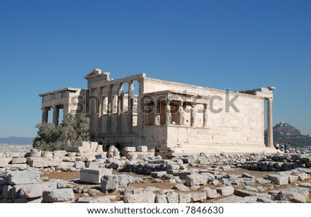 The Erecthion sits on the most sacred site of the Acropolis where Poseidon and Athena had their contest over who would be the Patron of the city.