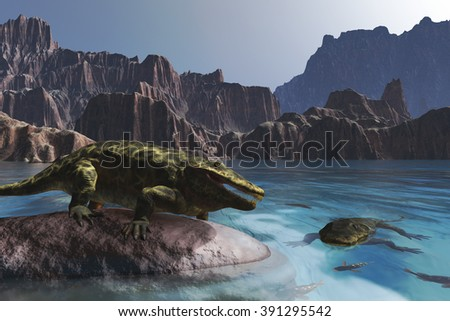 The Eryops was a prehistoric amphibian that lived during the Permian period - 3d render. - stock photo