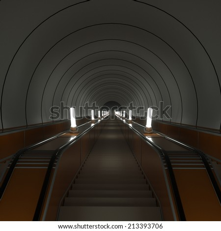 The escalator leads down, 3d render - stock photo