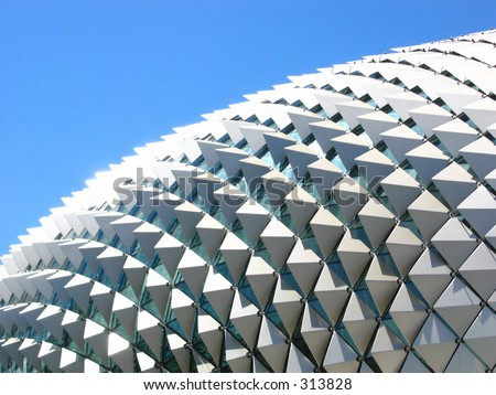 The Esplanade roof on a clear blue sunny day - stock photo