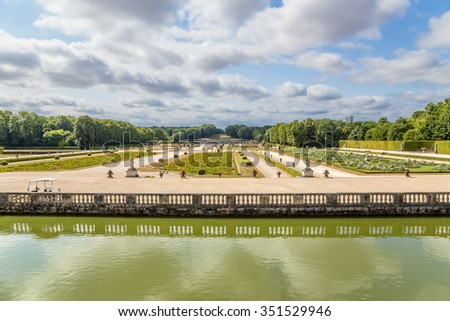 THE ESTATE OF VAUX-LE-VICOMTE, FRANCE - JUL 14, 2015: Park and decorative fences of channel. It was built in 1658-1661 for Nicolas Fouquet