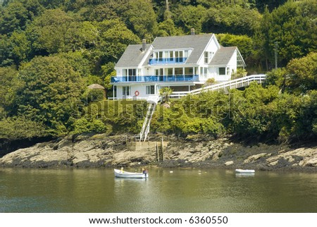the estuary of the river fowey town of fowey south cornish coast cornwall england uk