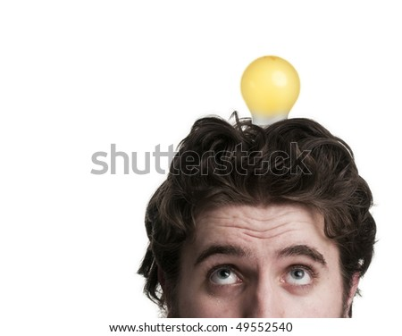 The eureka moment signified by lightbulb. Space for copy. - stock photo