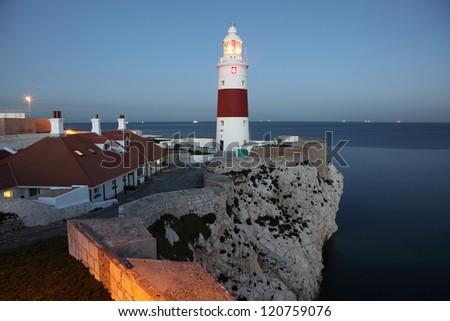 The Europa Point Lighthouse at dusk, Gibraltar - stock photo