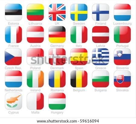 the European Union flags - stock photo