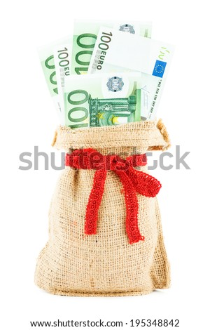the euros in a linen sack, bandaged by a gift red ribbon, isolated on a white background - stock photo
