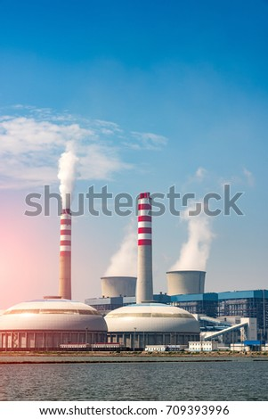 The evening sky background of power plants