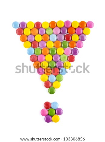 The exclamation mark of candy on a white background