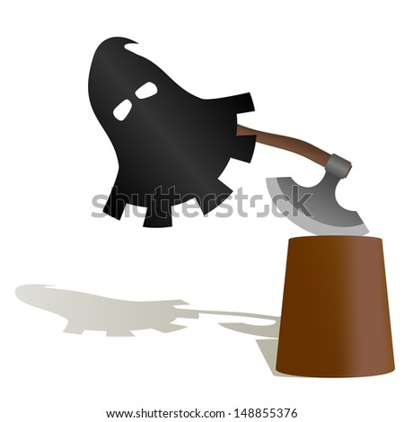 The executioner mask and ax to commit penalty. The illustration on a white background. - stock photo