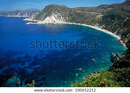 The exotic Petani beach at the west of Kefalonia, Greece - stock photo