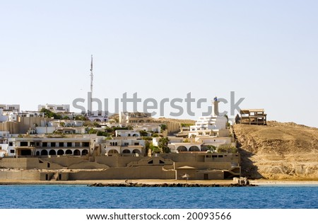 The expanding part of Sekalla in Hurghada Egypt. Hotel complex under construction in the background right next to the desert