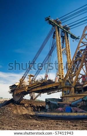 the exploition machine in opencast coal mine - Czech Republic - stock photo