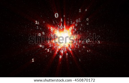 the explosion of binary stars in cyberspace - stock photo