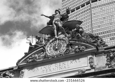 The exterior details of historic Grand Central Terminal in New York city. - stock photo