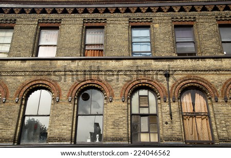 the exterior of a block of london flats. - stock photo