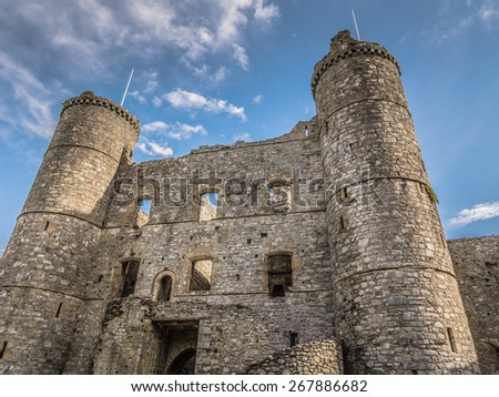The exterior of Harlech castle in Wales - stock photo