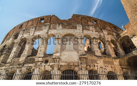 The exterior of the Colosseum (Coliseum), showing the mostly intact inner wall. Rome, Italy. - stock photo