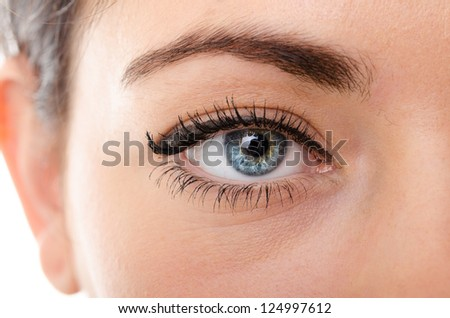 the eyes of a young woman is very close - stock photo
