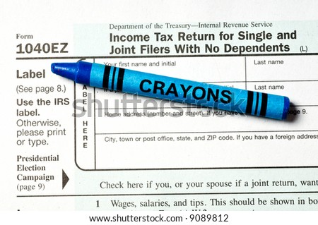 1040 Ez Tax Form Blue Crayon Ease Stock Photo Royalty Free