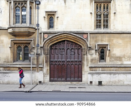 The facade of a medieval brownstone building with a large ornate timber door in Oxford city & Timber Door Stock Images Royalty-Free Images \u0026 Vectors | Shutterstock Pezcame.Com