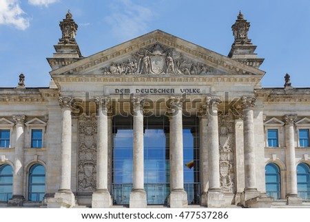 The facade of Bundestag/Reichstag Parliament Building in Berlin, Germany.