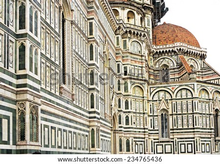 The facade of cathedral Santa Maria del Fiore in Florence, Tuscany, Italy, UNESCO World Heritage Site - background, texture