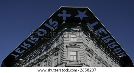 The facade of House of Terror (Terror Haza) in Budapest, a museum remembering regimes of the fascists and the communists - stock photo