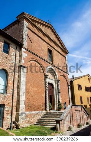 the facade of the Church of San Francesco in Chiusi near Siena, Tuscany,Italy - stock photo